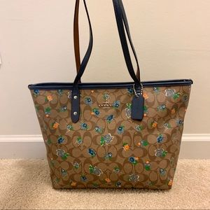 Auth Coach Floral Print Leather City Tote Bag, M